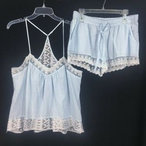 In Bloom XL Blue Laced 2 PC Pajamas SET